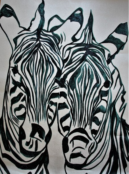 Sketch Double Trouble 24x18 Mixed Media Namibia