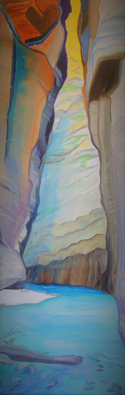 Through the Slot Canyon 48x24 Mixed media Zion Utah