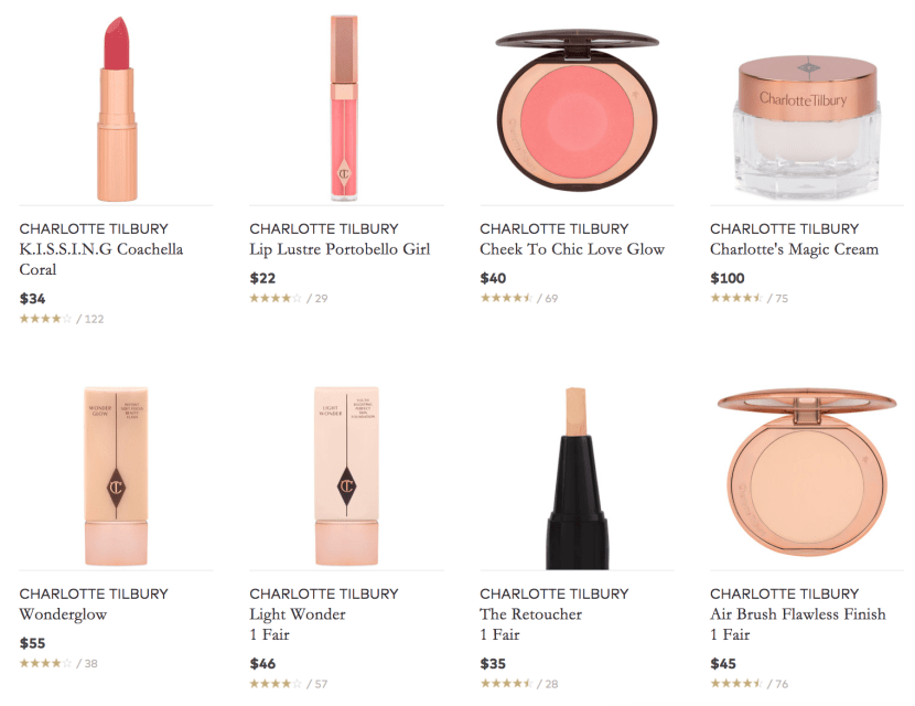 Everything you need to recreate the Charlotte Tilbury's Signature Look at the click of a button.