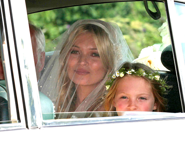 Kate Moss on the way to her wedding with Jamie Hince, Cotswolds, UK