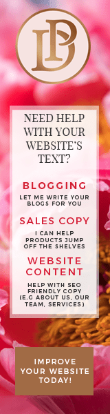 Copywriting services include: blogging, product copy, sales copy and general web copywriting