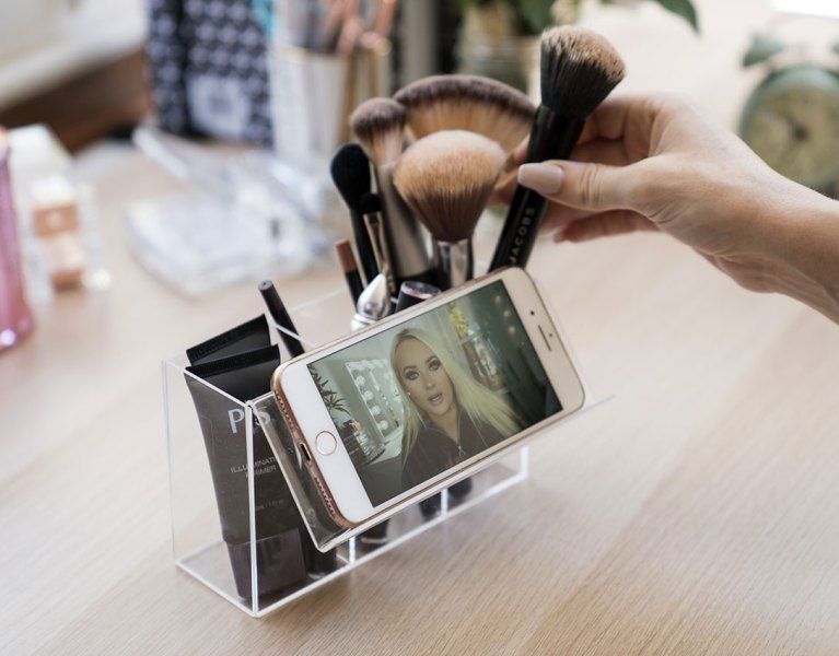 Acrylic Makeup Brush Holder with Phone Stand