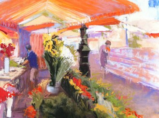 In the flower market—plein air study
