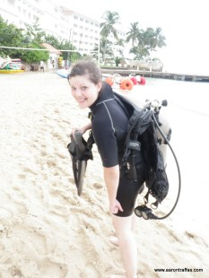 After the dive, walking back to the SCUBA office