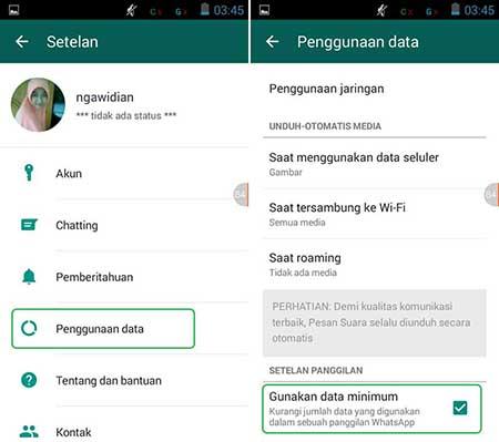 Cara Menghemat Data Internet di WhatsApp Android
