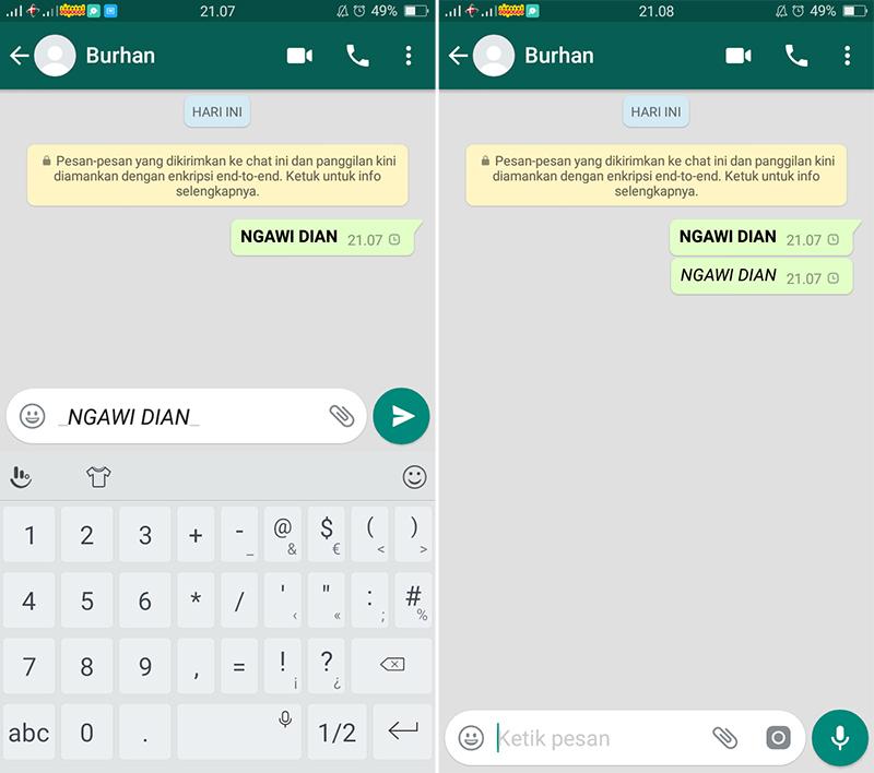 Cara Menulis Huruf miring di WhatsApp
