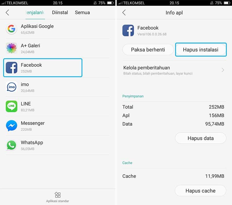 Hapus Aplikasi Facebook