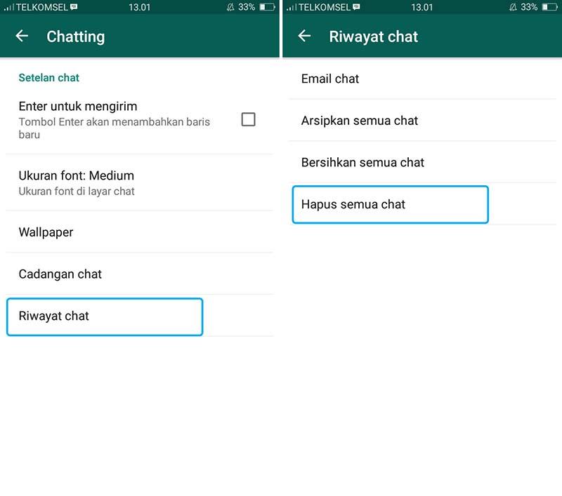 Hapus Obrolan di WhatsApp