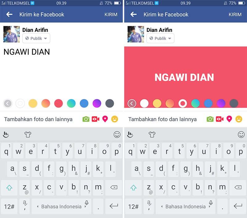 Membuat Status Dengan Background Berwarna di Facebook 2