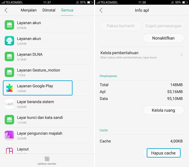 Hapus Cache Layanan Google Play