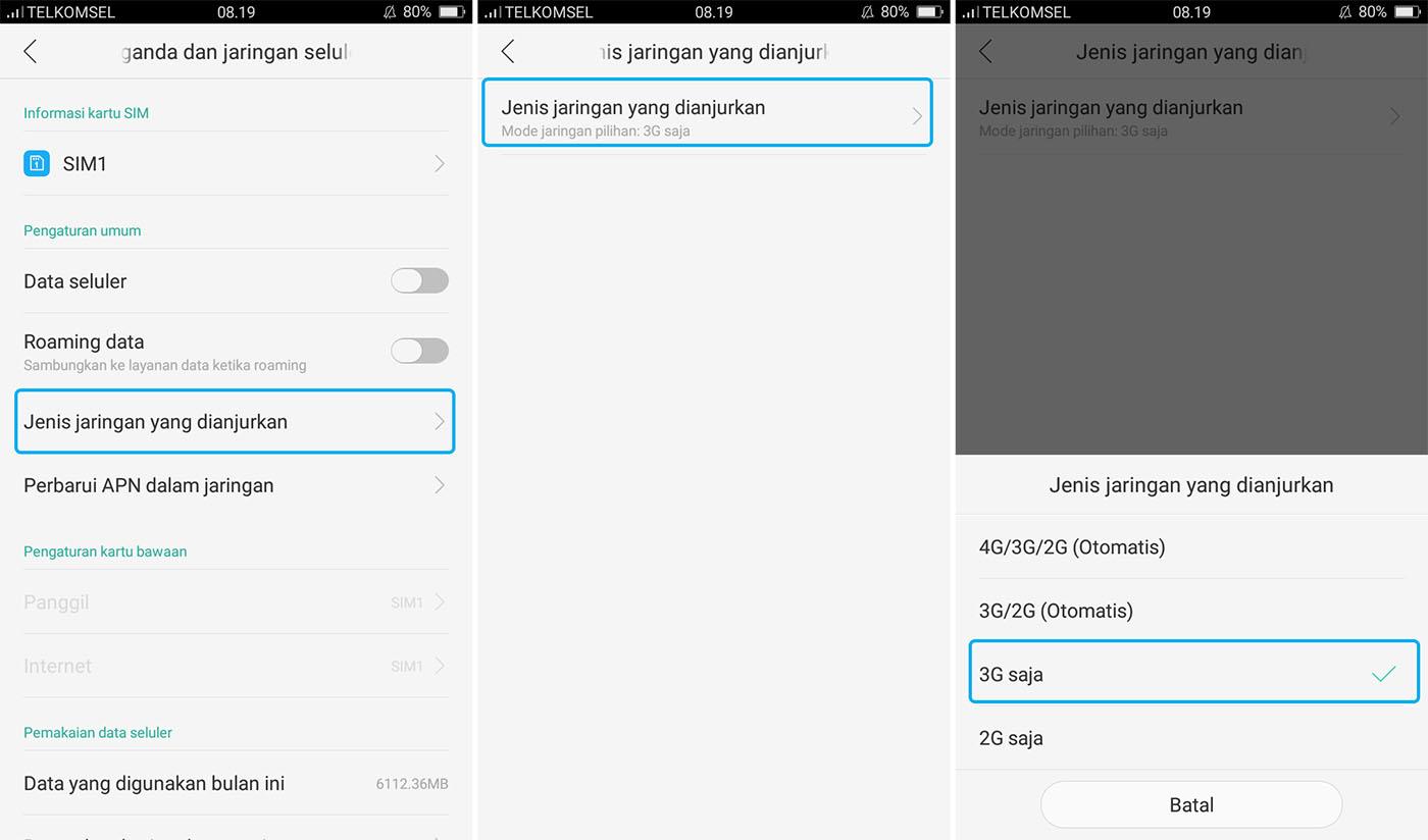 Mengubah Sinyal Android Ke 3G Saja