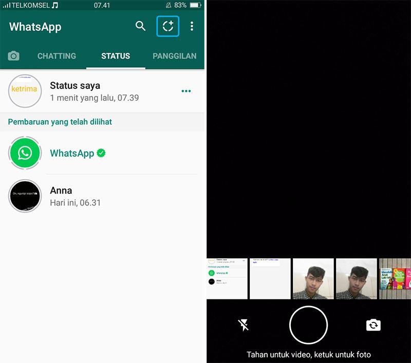 Tambahkan Status WhatsApp 1