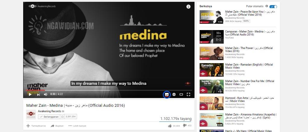 Cara Menampilkan Subtitle Youtube 1