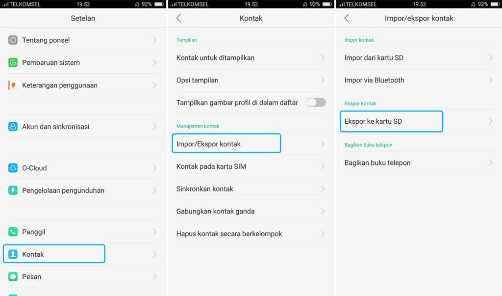 Ekspor Kontak Android