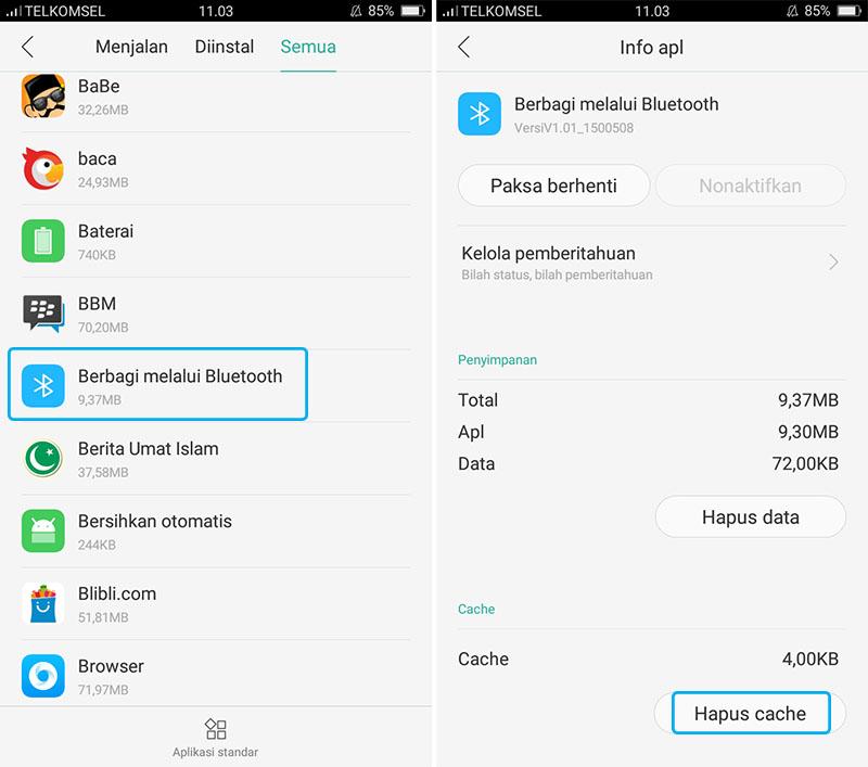 Hapus Cache Aplikasi Bluetooth