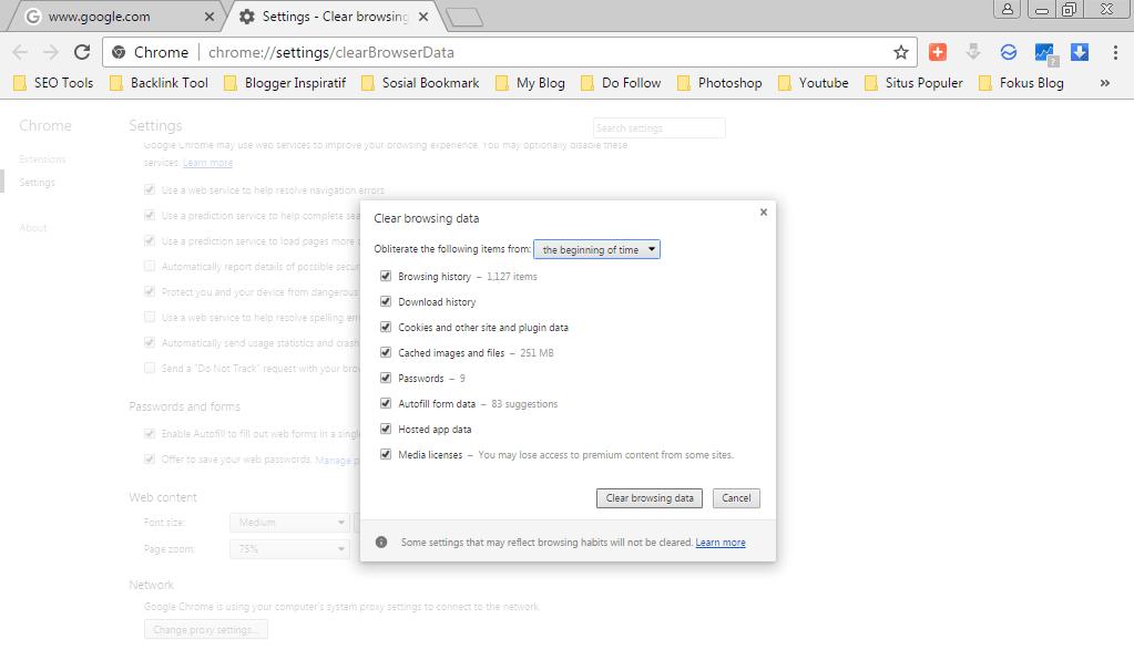 Hapus Cache Google Chrome di Komputer