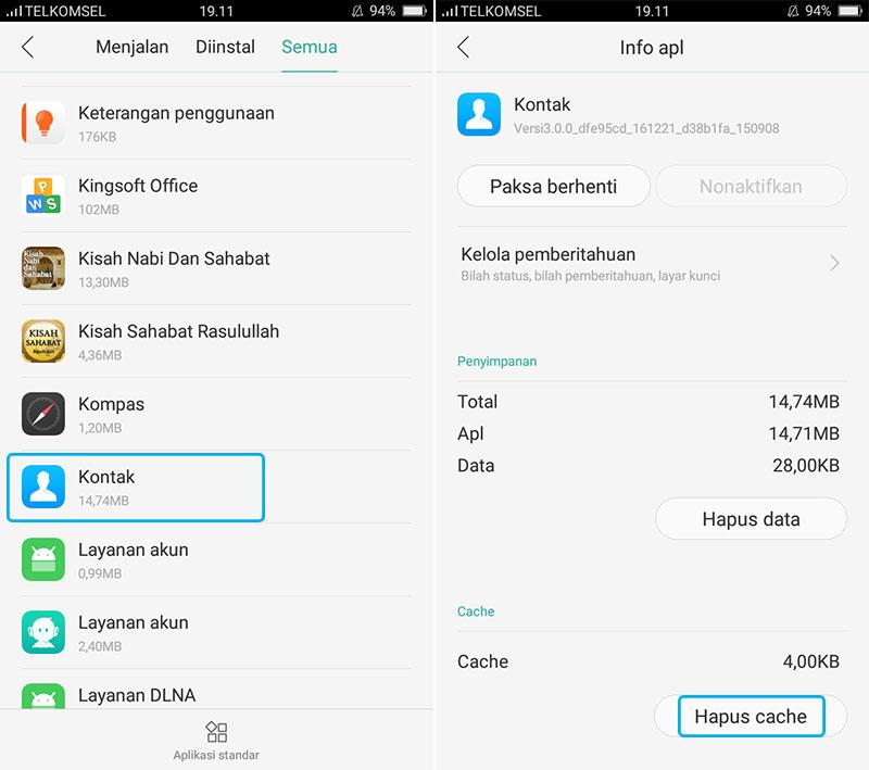 Hapus Cache Kontak Android