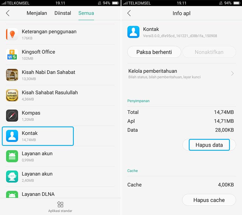 Hapus Data Kontak Android