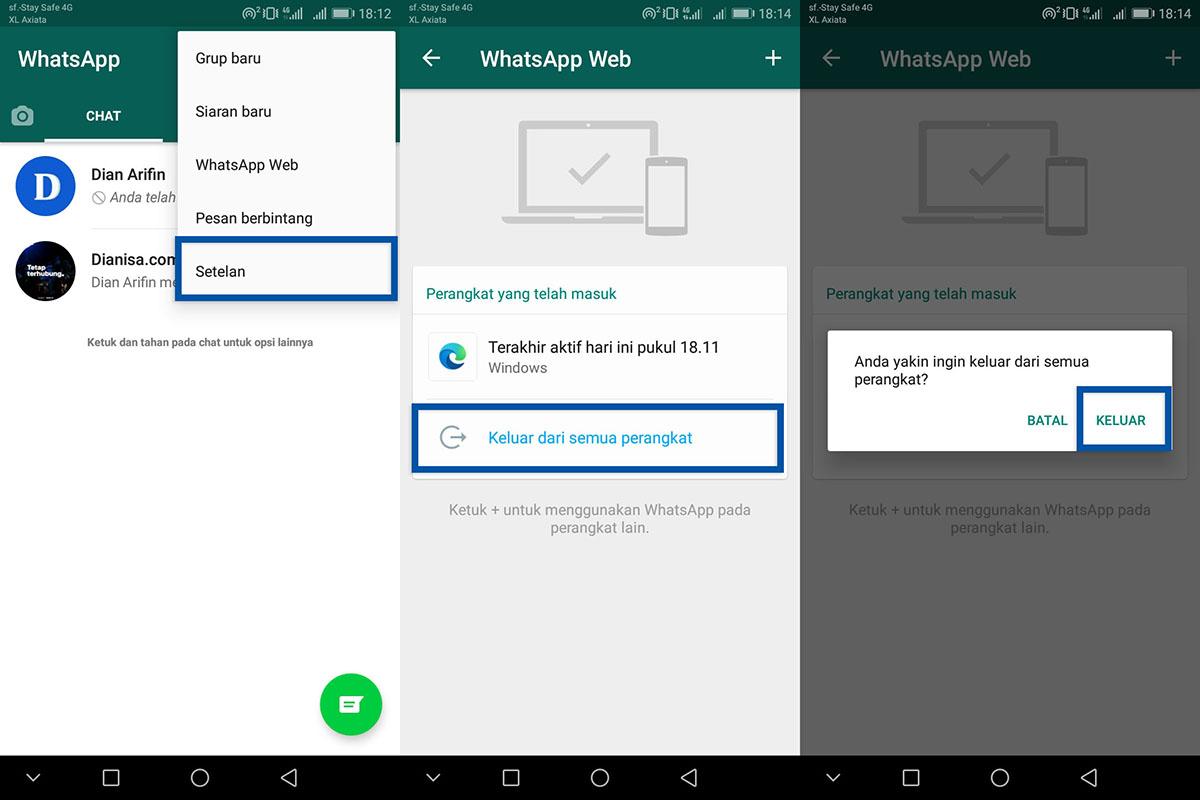 4 Logout semua perangkat WhatsApp Web