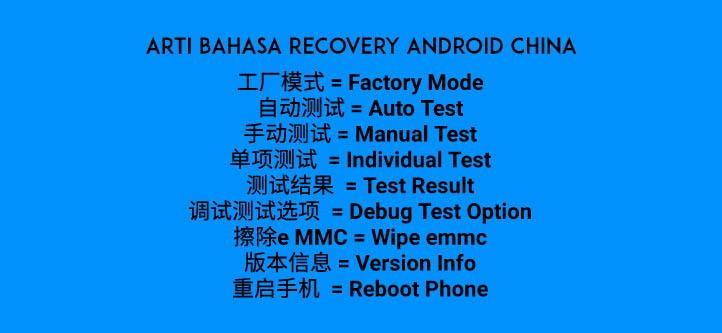 Arti Tulisan Recovery Mode Android Pada Ponsel China