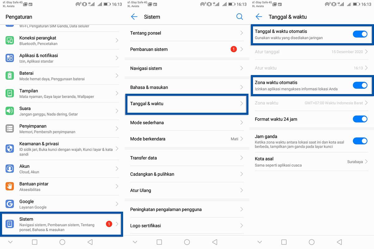 Atur tanggal dan waktu Android