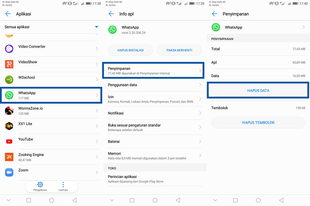 Cara Hapus Data Aplikasi WhatsApp