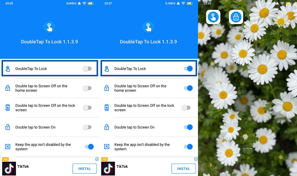 Gunakan aplikasi Double Tap Screen On and Off