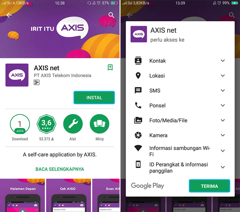 Install Aplikasi AXISnet