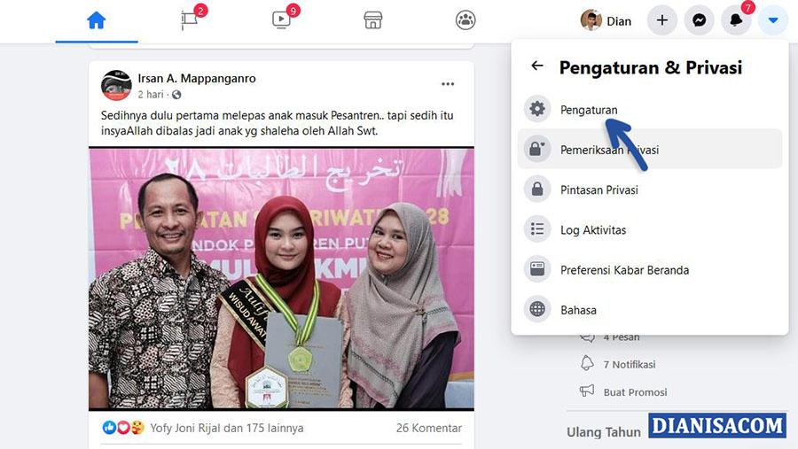 2 Pilih Pengaturan Facebook