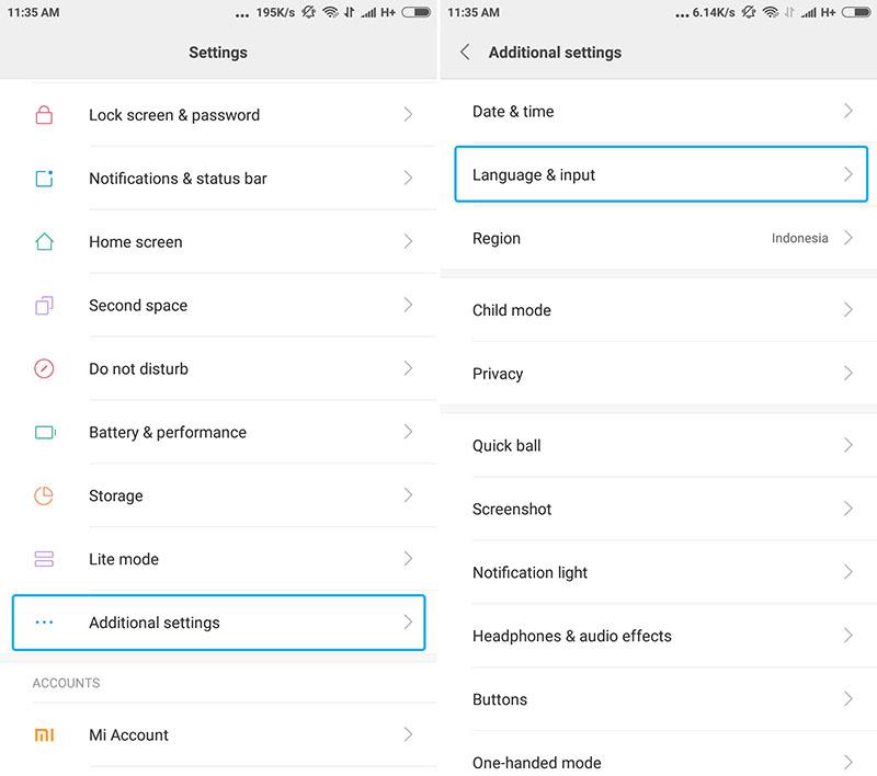 Setelan Bahasa Xiaomi