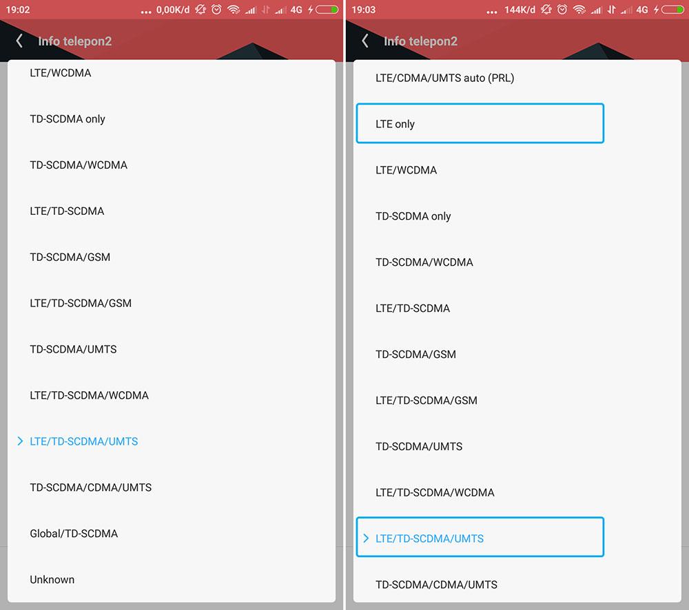 WCDMA ke 4G LTE Only di Xiaomi