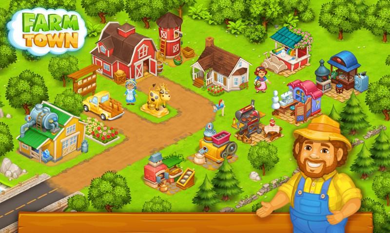 Farm Town Happy farming Day & food farm game City