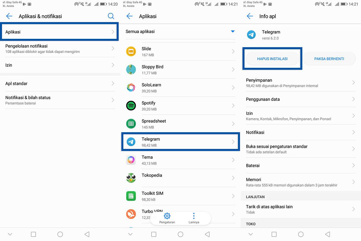 Coba Hapus Aplikasi Telegram