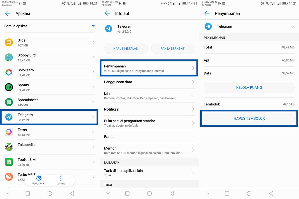 Coba Hapus Cache Aplikasi Telegram