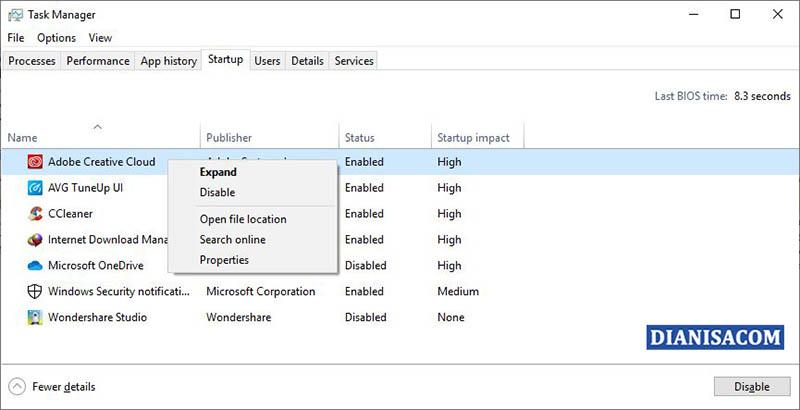 Disable Aplikasi Startup Windows 10