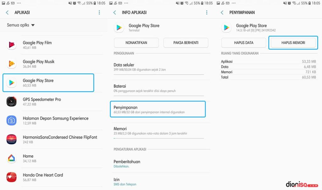 Hapus Cache Google Play Store SAMSUNG