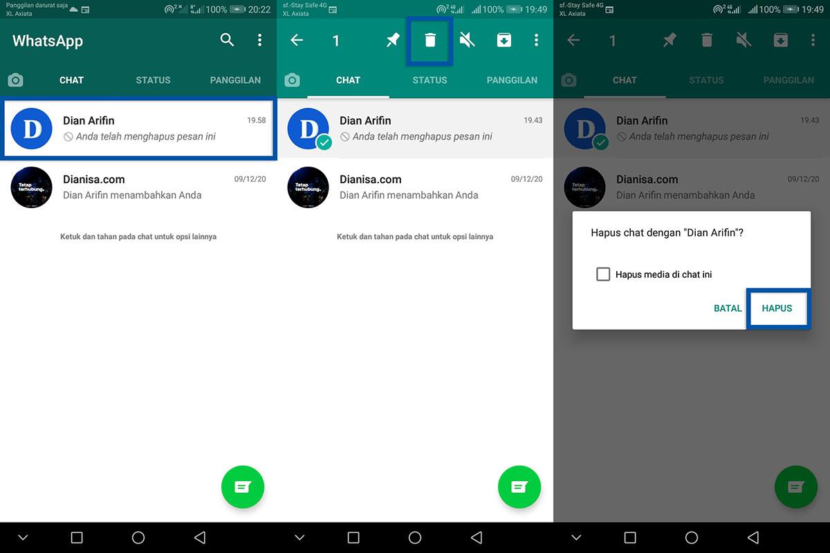 1 Menghapus Pesan Pribadi WhatsApp