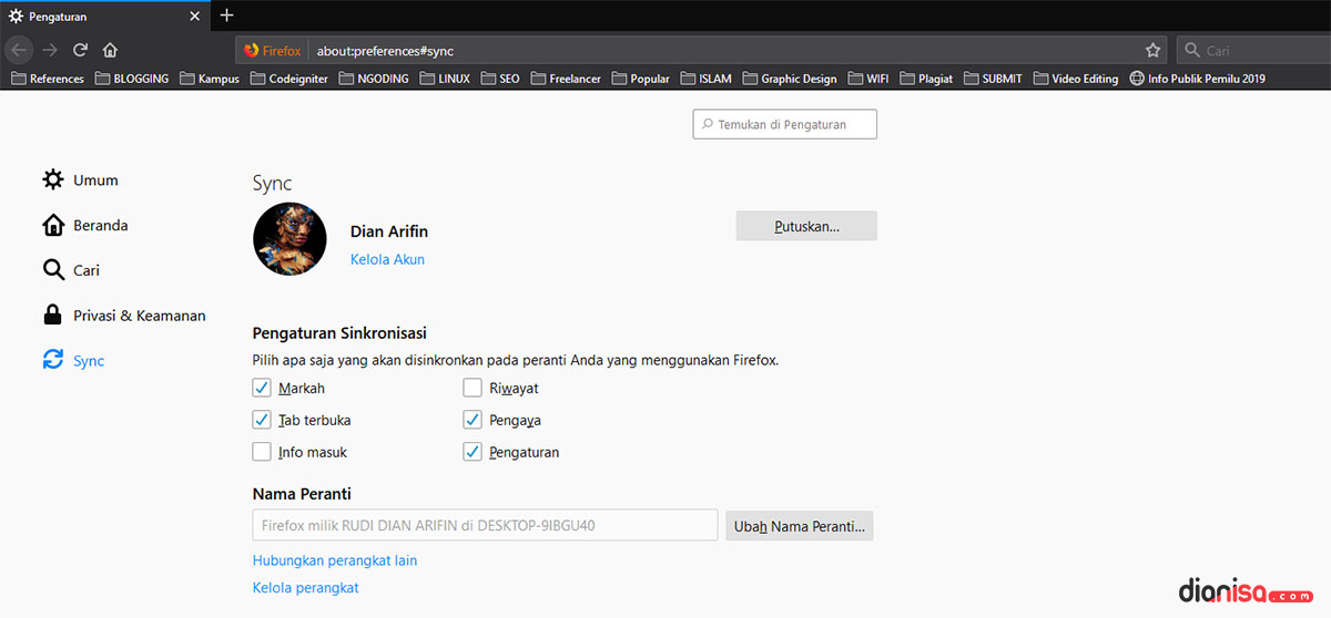 Akun Sinkronisasi Mozilla Firefox