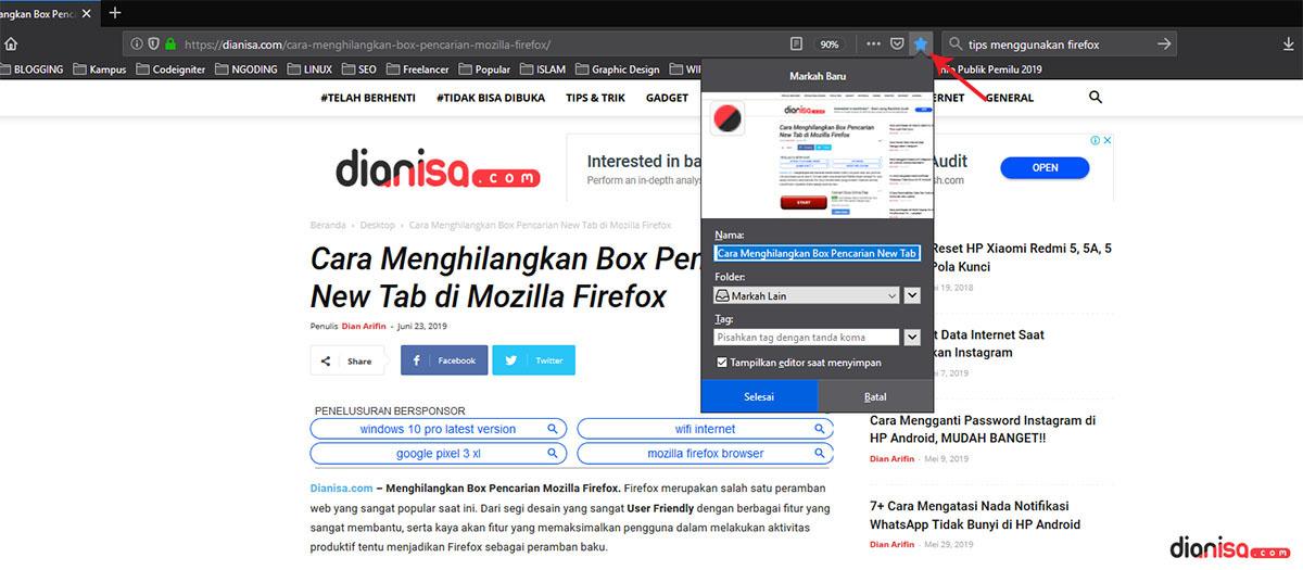 Bookmark Laman Mozilla Firefox