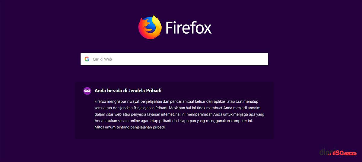 Jendela Pribadi Mozilla Firefox