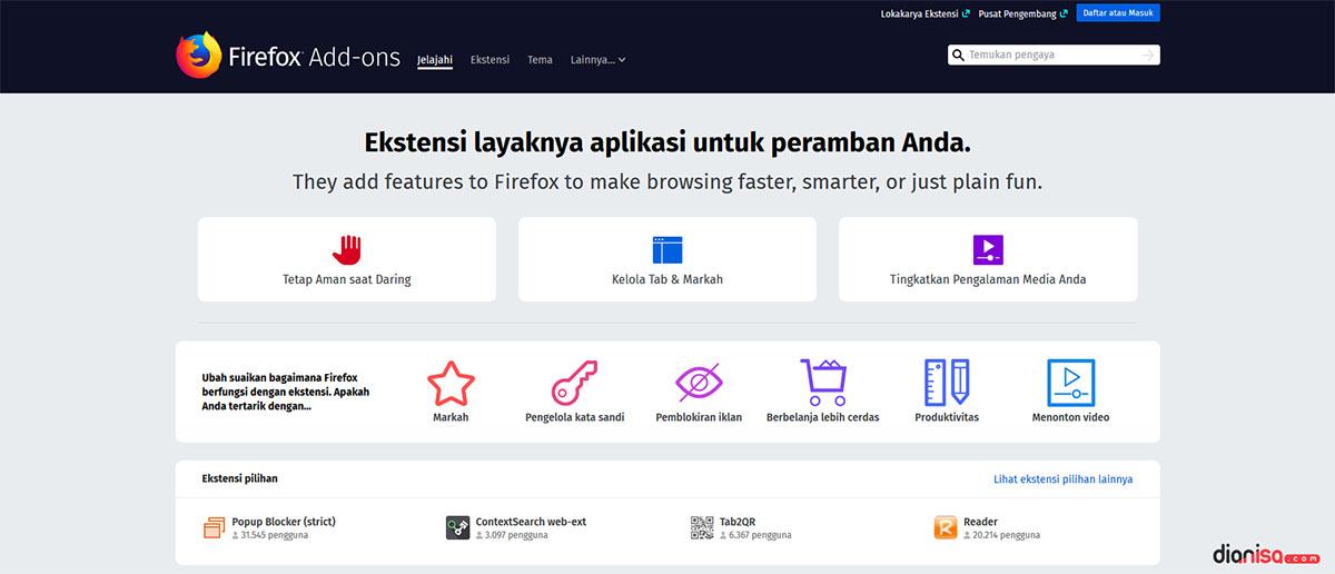 Pengaya Pada Mozilla Firefox