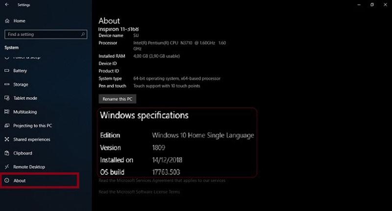 Spesifikasi Windows 10 Home Single Language