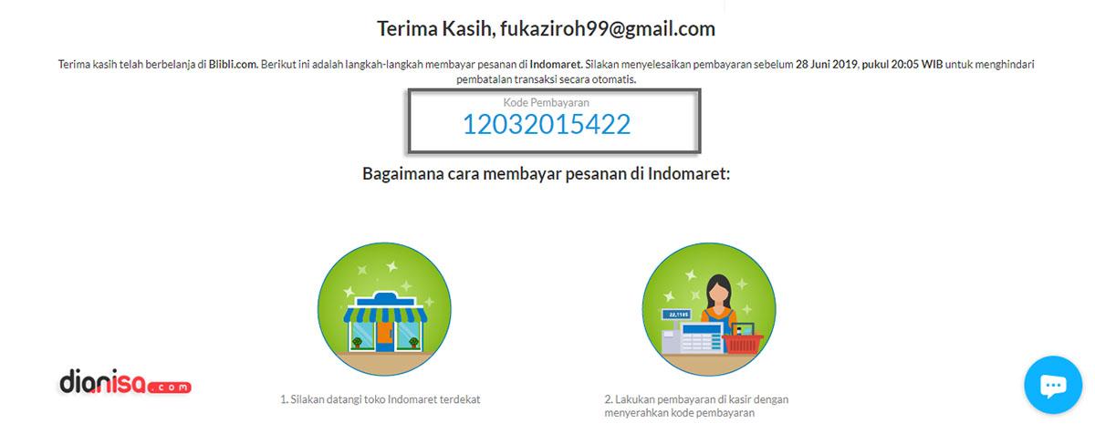 9. Kode Pembayaran di Blibli