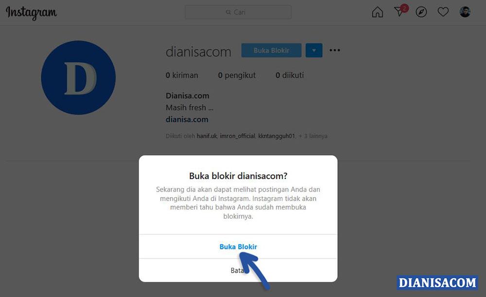 2 Batal Blokir Instagram Komputer