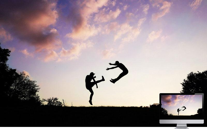 #22. People Silhouette Jump Wallpaper