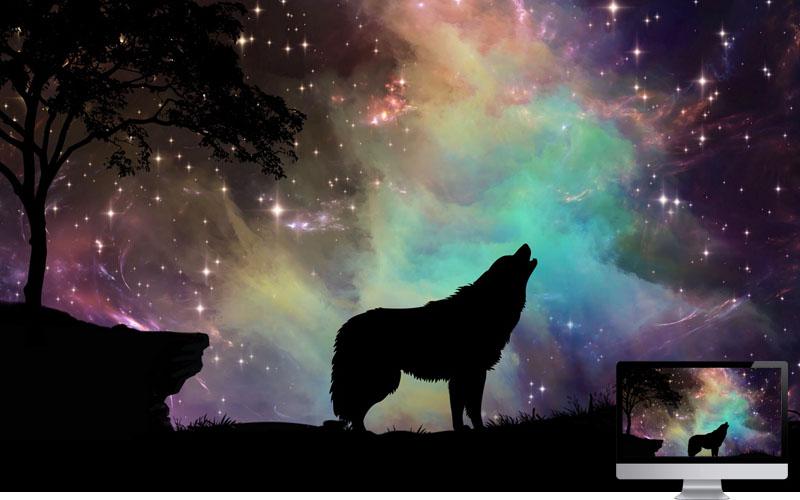 #5. Wolf Starry Sky Silhouette Art