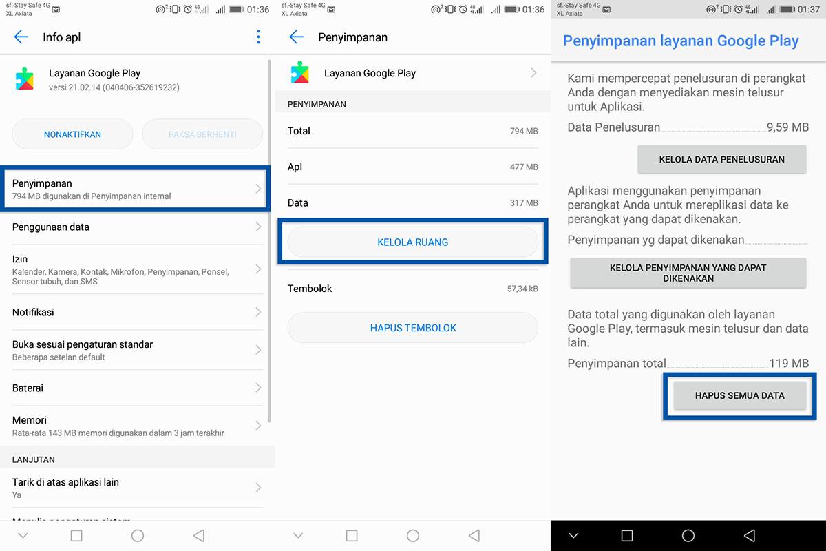 Hapus Data Layanan Google Play