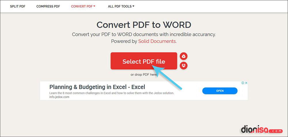 Konversi PDF ke Dokumen Word iLovePDF