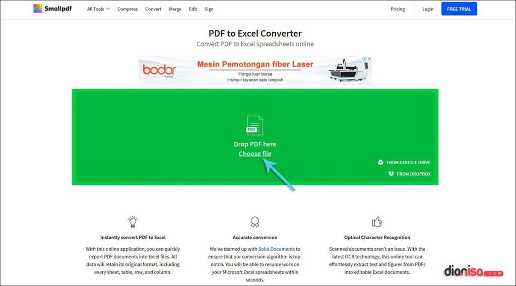 Konversi PDF ke Excel di SmallPDF.com