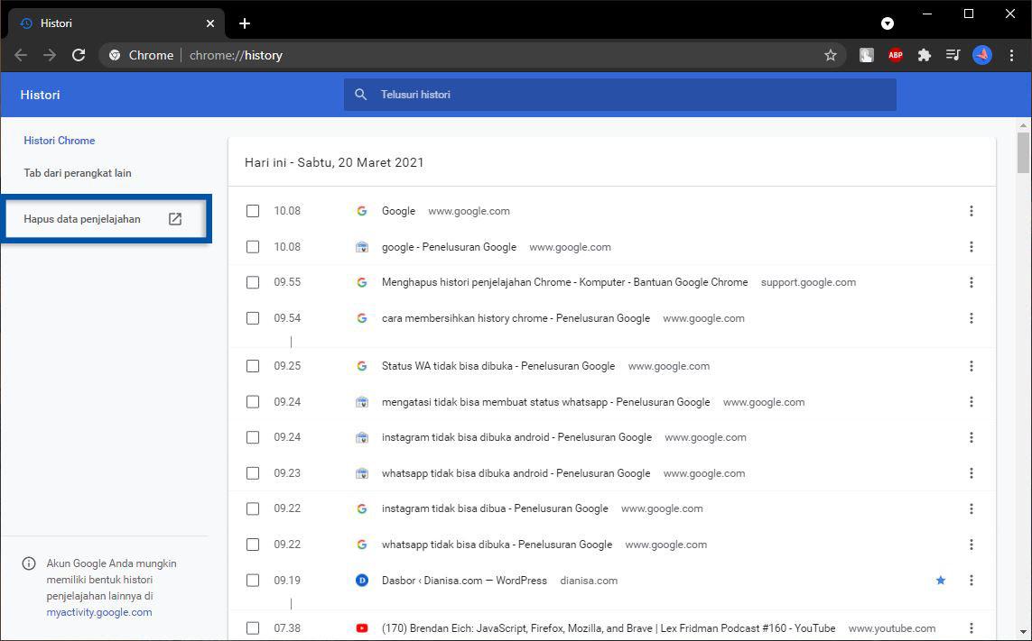 Hapus Data Penjelajahan Chrome
